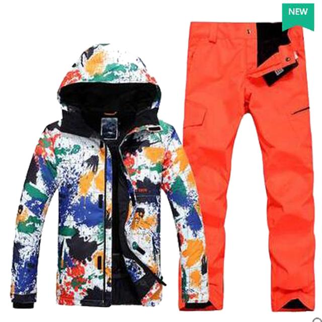 2017 новое прибытие мужская лыжный костюм лыжный спорт костюм для мужчин мужской живописи тушью лыжная куртка + лыжные штаны катание костюм 630HFX
