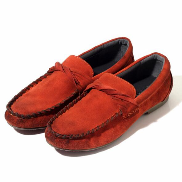 New Arrivals Fashion Men Flats Vintage Suede Genuine leather Male Loafers Handmade Boat shoes lighten-end Driving shoes 1/4(China (Mainland))