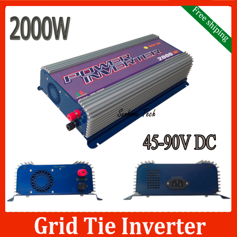 2000W grid tie solar inverter, MPPT inverter for 2kw on grid solar system, single phase output,free shipping(China (Mainland))