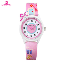 KEZZI New Cute Bow Cartoon Watch Waterproof Girl Kid Children Wristwatches Round Dial Printings Leather Strap Quartz Watch Reloj(China (Mainland))