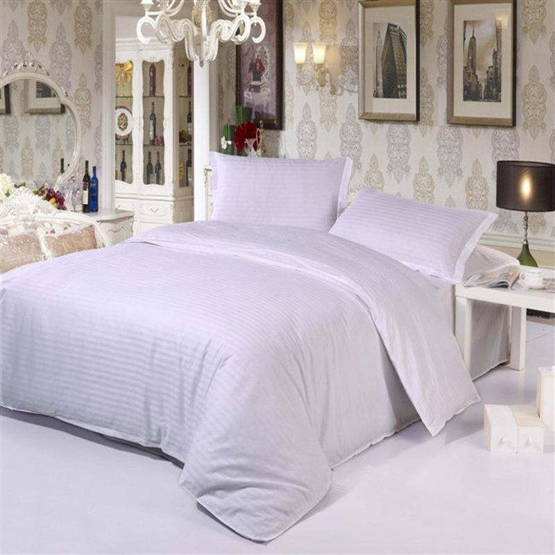 White Streak Hotel Home Textile Bedding Set Queen King