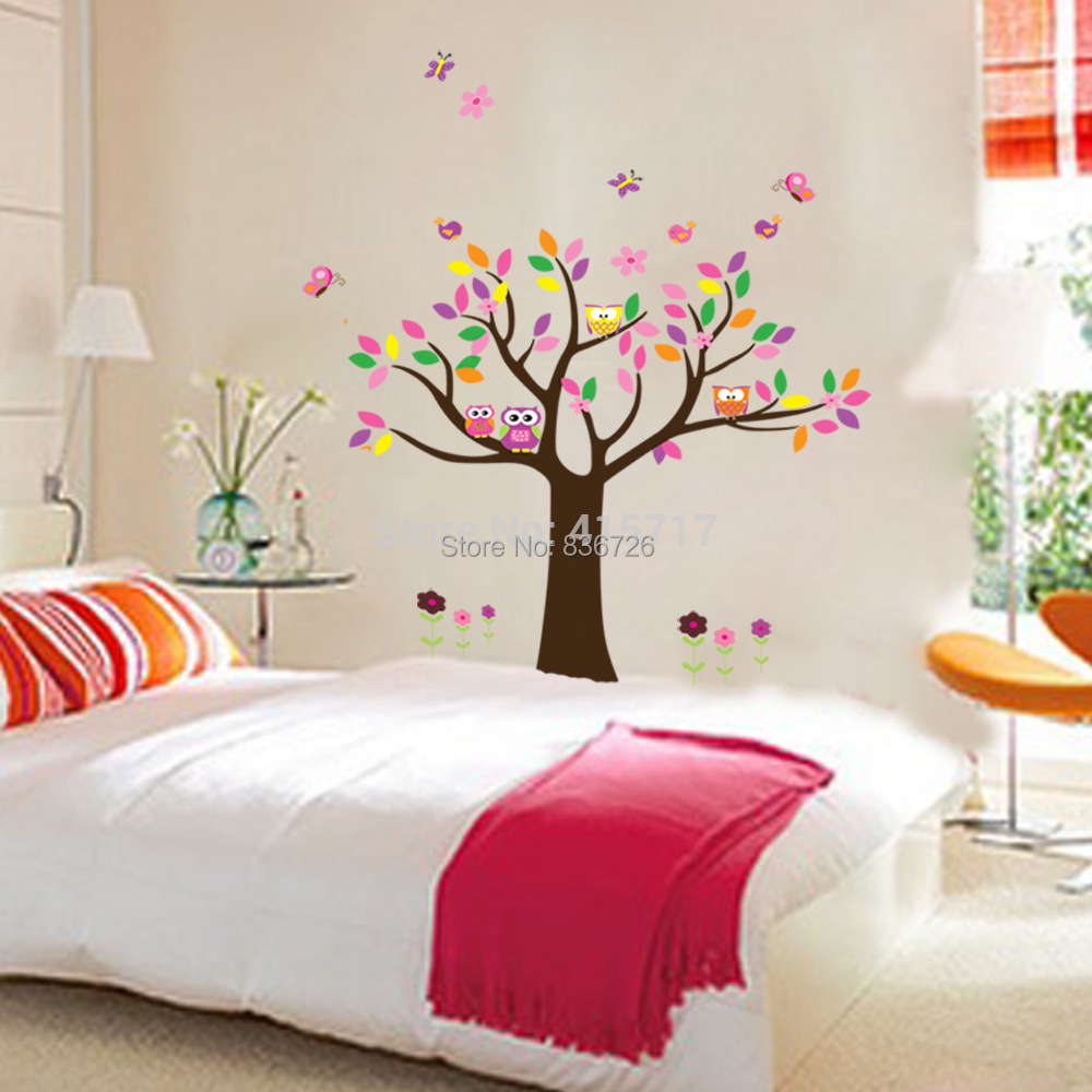 2015 Hot Selling Colorful Flowers Baby Room's Wall Posters Owls On Trees Kids Room Posters Home Decor Living Room Accessories(China (Mainland))