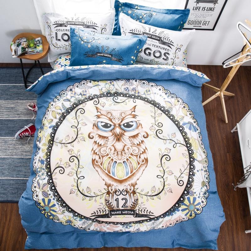 4pcs 100 cotton 3d kids girls boys owl bedding set queen size bedsheet - Kids Sheets Boys