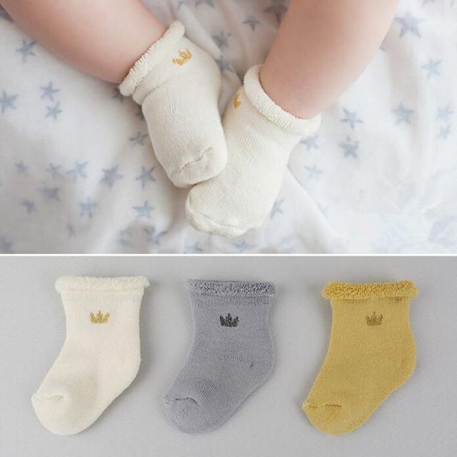 3 цветов зимний новый род антипробуксовочная хлопок мода ребенка махровые носки