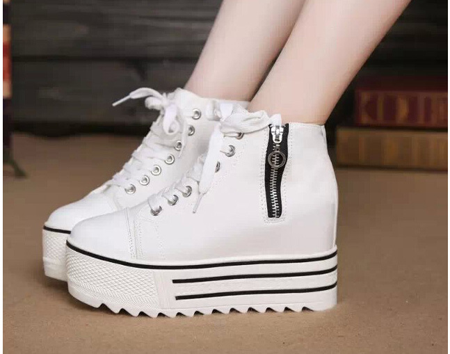 New 2015 High Top Platform Sneakers Women High Heels Canvas Shoes Wedges Elevators White Black Casual Woman Shoes with Zipper(China (Mainland))