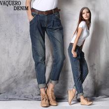 Boyfriend Jeans For Women 2015 Hot Sale Freeshipping Casual Mid Loose Vintage Denim Harem Pants Plus Size Woman Jeans B528
