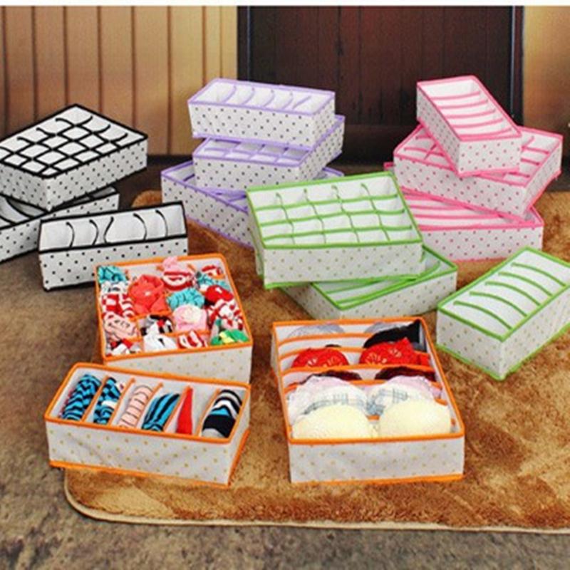 Foldable Non-woven Home Storage Box Set For Underwear Bra Sock Ties +Folding Cosmetics Desktop Organizer Tidy Makeup(China (Mainland))