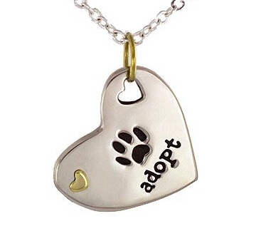 Wholesale ADOPT necklace Heart Shaped with Paw Print and Adopt Message dog tag ADOPT pet tag necklace puppy adoption FH899888(China (Mainland))