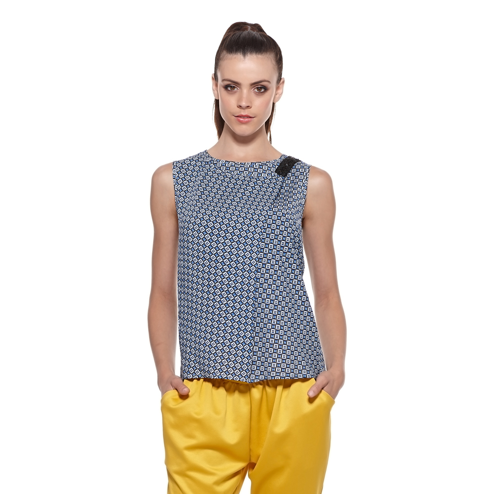 Jasi & Co JSDJ2384 Women Summer Rayon Sleeveless Top with Beading Work At Left Shoulder Invisible Zipper Contrast Color(China (Mainland))