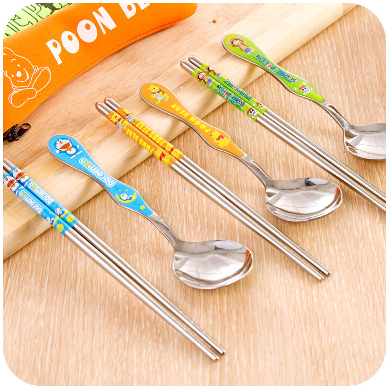 Japanese cartoon stainless steel chopsticks spoon kit tableware unit for travelling portable cute Doraemon childern cutlery sets(China (Mainland))