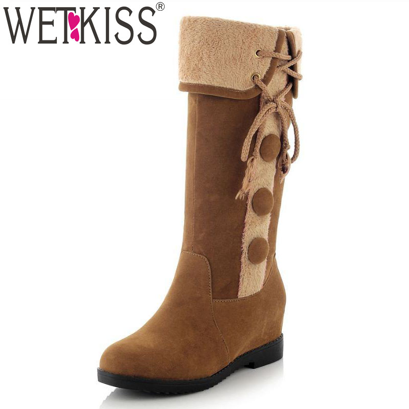 Popular Warm Mid Calf Boots Cozy Increased Internal Shoes Woman Lace Up Button Charm Outside Boots For Girl Stylish Winter Shoes(China (Mainland))