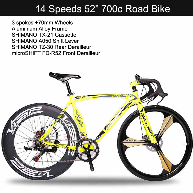 New!!!! 14 Speeds 700C Bicicleta 3 Spokes+70MM Wideth Wheels Disc Brake Aluminium Alloy SpecializedBIKE Fat Bicycle Road Bike<br><br>Aliexpress