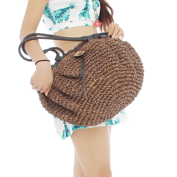 1pc Women Lady Girl Retro Coconut Button Shoulder Bag Large Capacity Beach weaving Straw Woven Tote Handbag EJ641869(China (Mainland))