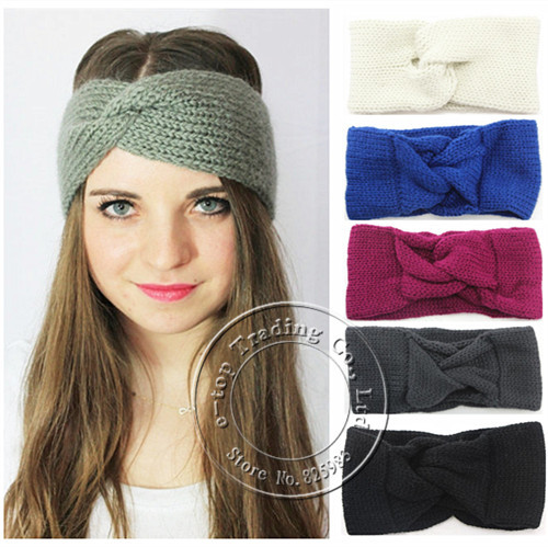 FREE SHIPPING New Knitted Turban Headband for Women Ear Warmer Twist Wide Hair Band Turbante Head Wraps Accessories A0410(China (Mainland))