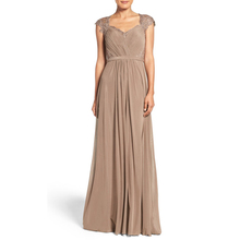 Brown Sweetheart Neck Cap Sleeve Long Evening Dress A Line Appliques Beading Custom Made Dress Cheap Evening Gowns For Women(China (Mainland))