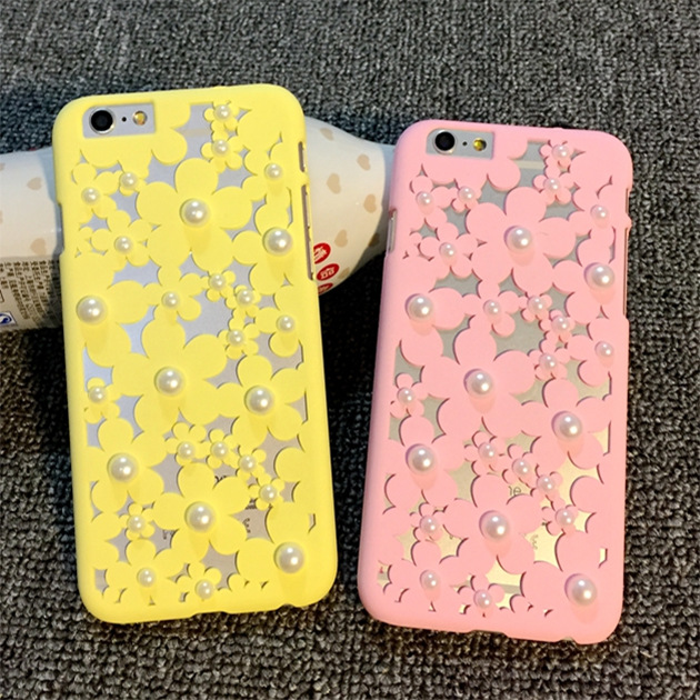 i6 4.7/5.5 Sweet Hollow Flower Pattern Pearl Hard Back Case for iPhone 6 4.7/Plus 5.5 Leisure Lovely Slim Case Girl Gift Cover(China (Mainland))