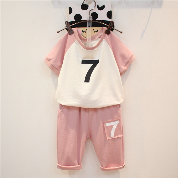 2-7 yre cotton new 2016 kids boys cool fashion black pink children sets baby girls suits next summer loose cozy Sportswear(China (Mainland))