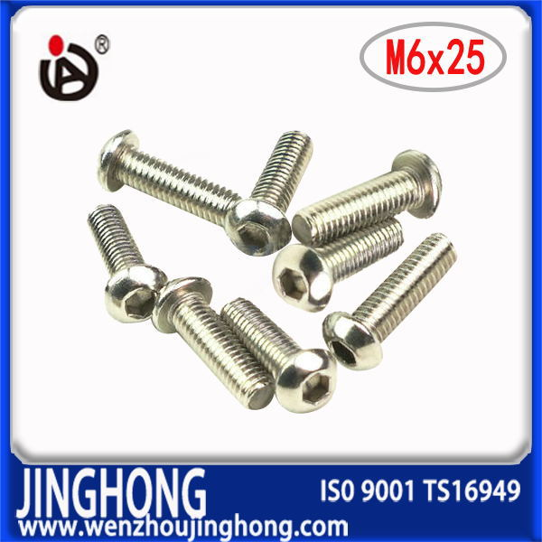 [JH]  100pcs/lot  ISO7380  M6*25  Stainless Steel Hexagon socket round head screws<br><br>Aliexpress
