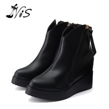 New 2015 Women Tassels Ankle Boots High Heels Winter Warm Zipper Boots Pumps Black Lady Martin Soft Leather Flat With Shoes