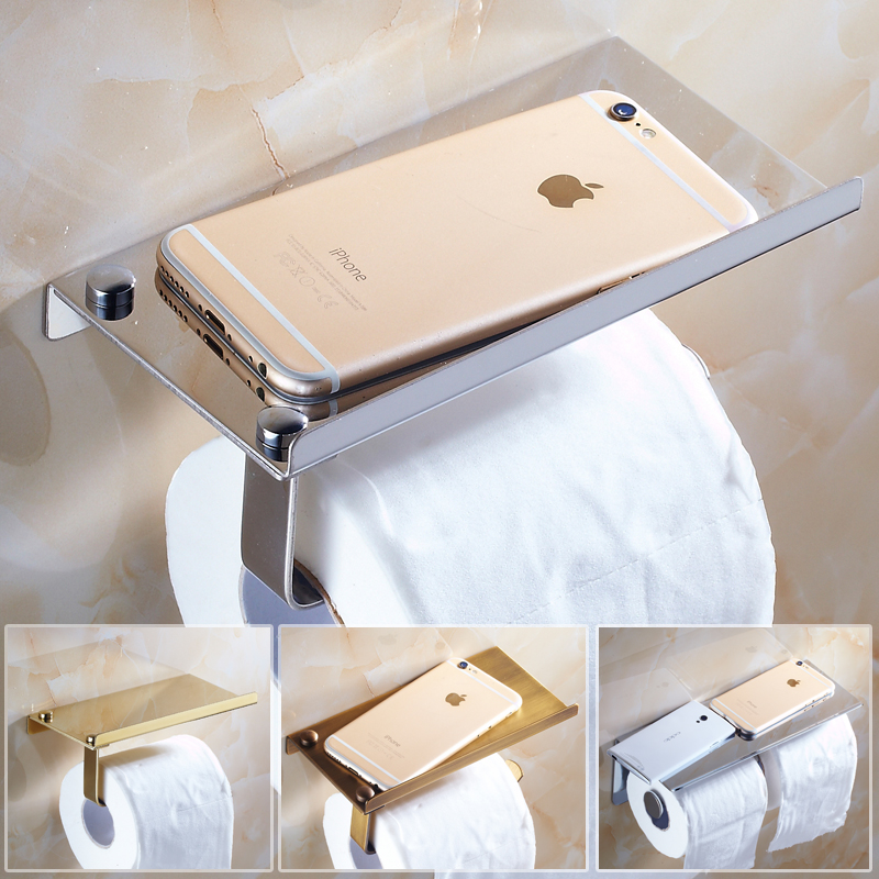 Mancel Stainless Steel Toilet Paper Holder Roll Creative Polished Bathroom Accessories Shelf