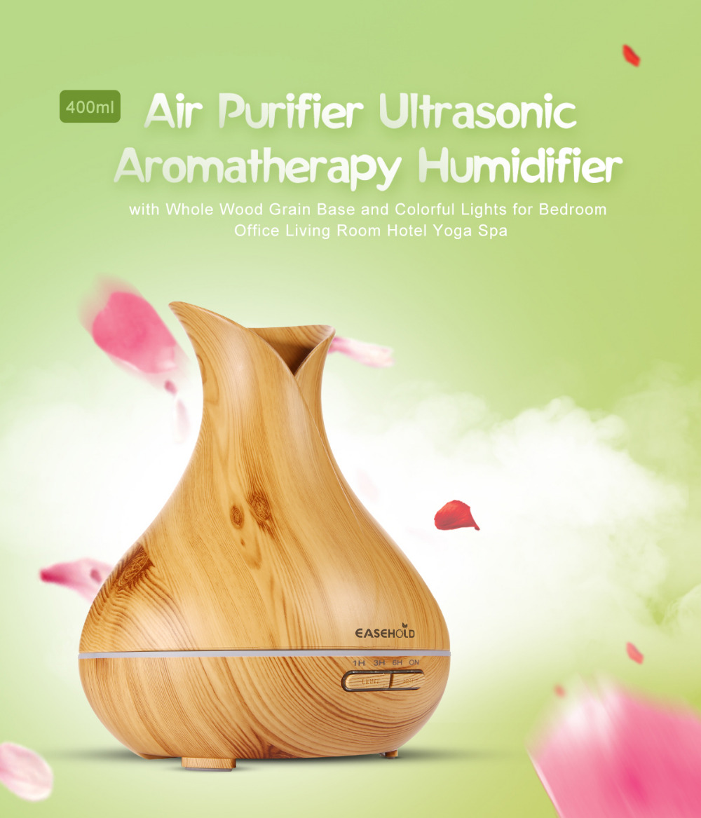 EASEHOLD 400ml Aroma Essential Oil Diffuser Ultrasonic Air Humidifier with Wood Grain 7 Color Changing LED Lights electric