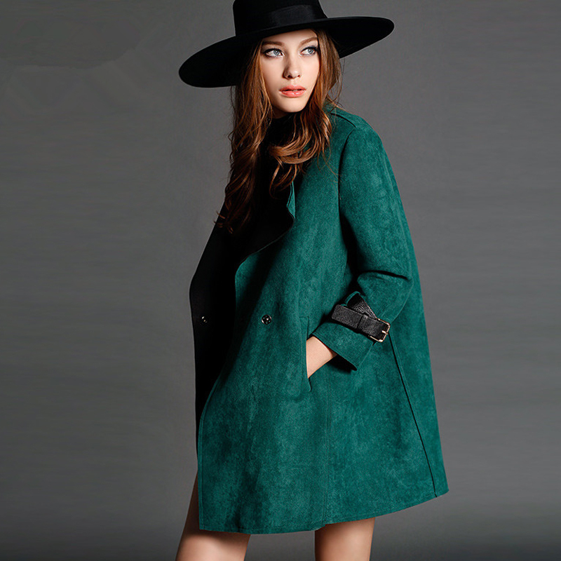 2016 The  fall and winter clothes in the long section of deer suede coat large lapel long-sleeved coat jacket womenОдежда и ак�е��уары<br><br><br>Aliexpress
