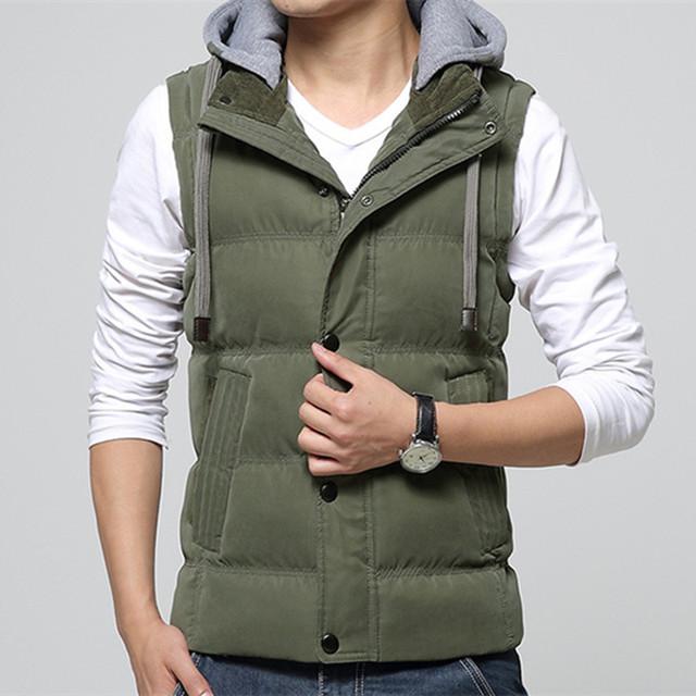 Высокое качество мужчины свободного покроя жилет зимнее пальто шляпа съемный мужчин ...