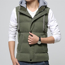 High Quality Men Casual Vest Winter Coat Hat Detachable Men Waistcoat Sleeveless Jacket Solid Outdoor Sport Vest Men 4 Colors(China (Mainland))