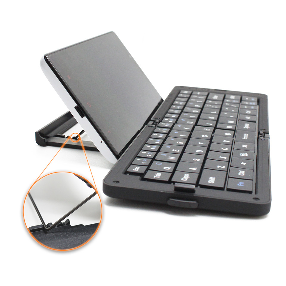 Foldable Ergonomics Wireless Bluetooth Keyboard For iPhone iPad Android HTC Galaxy Tab + Adjustable Phone Holder(China (Mainland))
