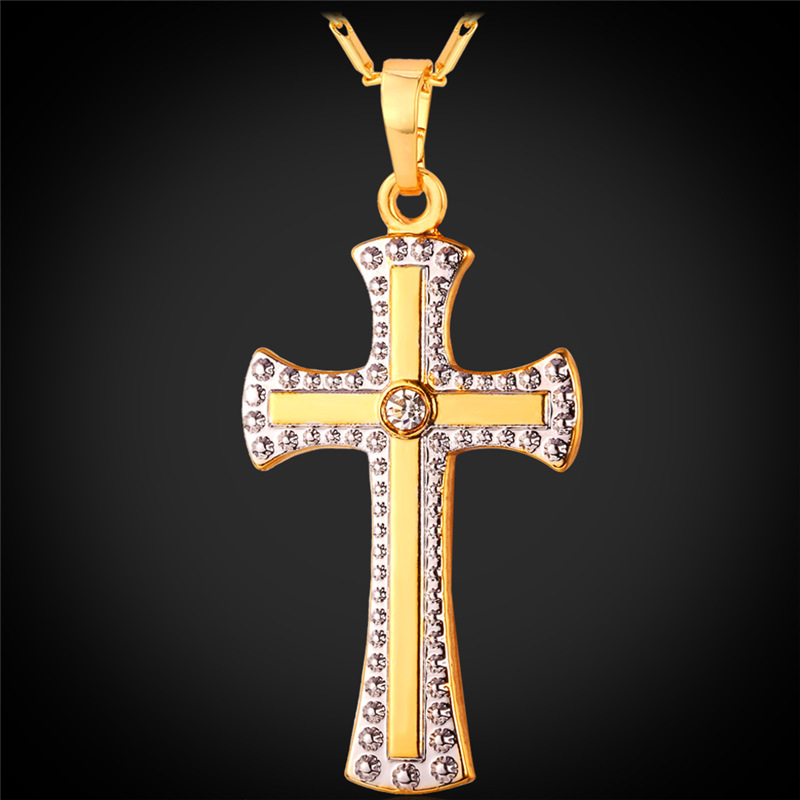 Cross Necklace Trendy Christmas Gift For Women Men Christian Jewelry 18K Gold Plated Rhinestone Cross Jesus Cross Pendant P1406(China (Mainland))
