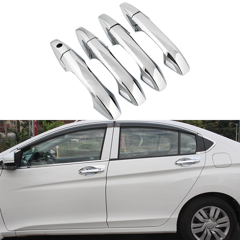 Car Styling Door Handle Cover Decoration Trim Frame ABS Chrome Exterior Accessories For Honda City 6th 2013+ 2014 2015 2016<br><br>Aliexpress