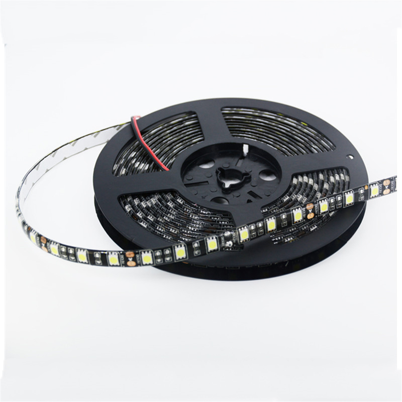 DC12V 5m 60 led/m Black PCB Board Waterproof 5050 LED Strip Light Warm White CoolWhite Blue Red RGB For home car hotel KTV Bar(China (Mainland))