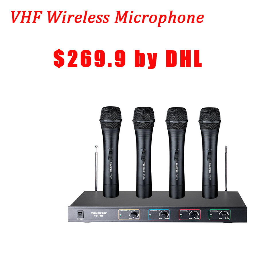 Takstar TC-4R VHF Wireless Handheld Microphone one receiver with four transmitters for KTV, program hosting, outdoor activities(China (Mainland))