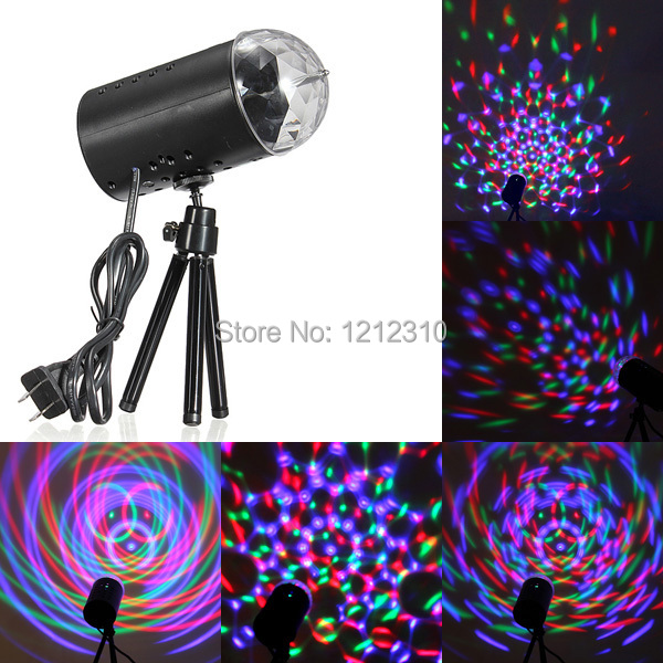 EU/US Plug New RGB 3W Crystal Magic Ball Laser Stage Lighting For Party Disco DJ Bar Bulb Lighting Show(China (Mainland))