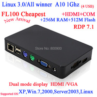 "FL100 Linux thin clients with RDP7 All winner A10 1G Linux 3.0 256M Ram 512M Flash HDMI VGA 56"" big screen support"