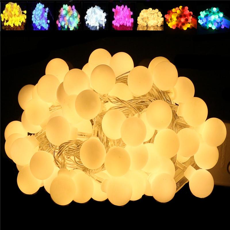 1X LED Light 10m 100 leds AC 220V110VOutdoor lighting LED Ball string lamp Christmas Light fairy wedding garden pendant bulb(China (Mainland))