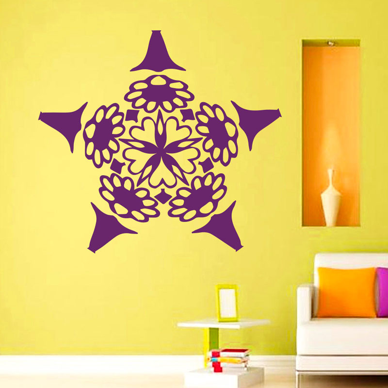 2016 Hot Sale Mandalas Flowers Wall Stickers Mural Vinyl Yoga Indian Home Decoration Wall Sticker For Living Room Removable