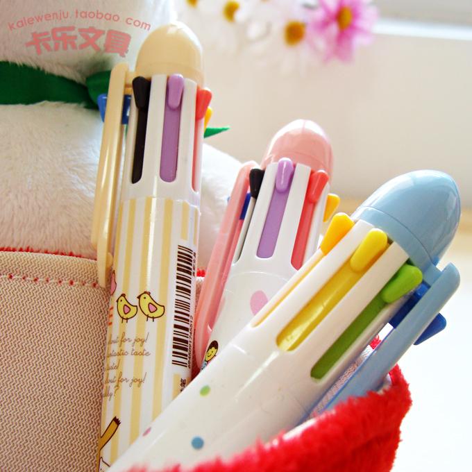Free shipping 10pcs/lot new 7 colours ballpoint pen True color seven color pen multi-colored cartoon cute students ballpoint pen(China (Mainland))