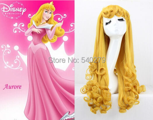 Movie Sleeping Beauty Princess Aurora Wig Long Curly Golden Anime Cosplay Costume Wigs - HD online Store store