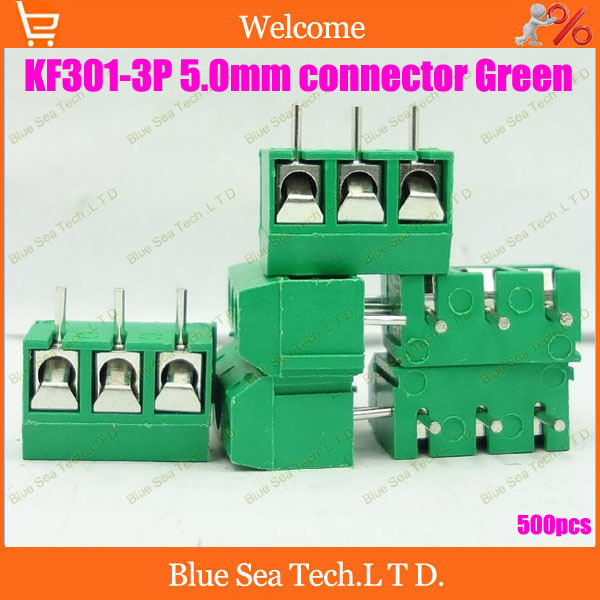 Free Shipping 500pcs KF301-3P 5.0mm 3Pin PCB Screw Terminal Block Connector for 300V/16A(22-14 AWG wire), Green<br><br>Aliexpress