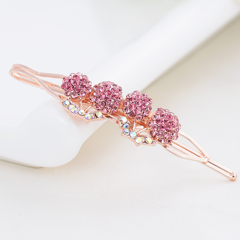 Pink crystal cherry hair pins fashion rhinestone girl barrattes gold plated hair clip head jewelry souvenir gift factory price(China (Mainland))