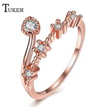 Buy Tuker Classic popular Romantic personality heart shap Cubic Zirconia Rings rose gold Color Party Wedding Jewelry Women Gift for $3.00 in AliExpress store