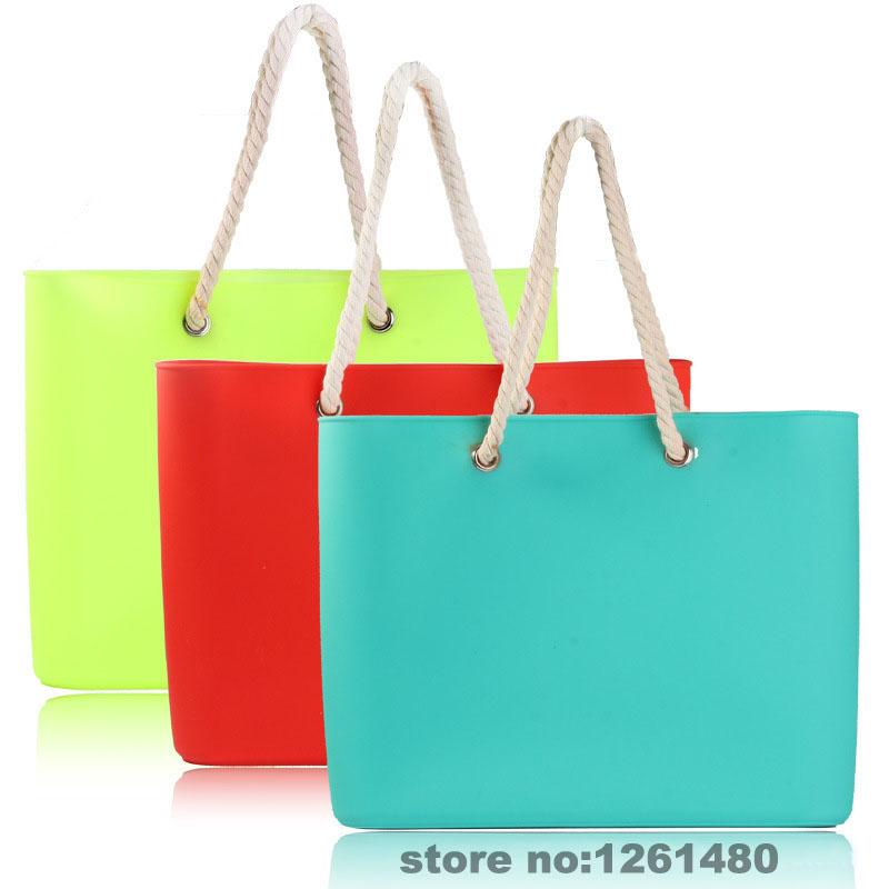 2015 waterproof soft portable women silicone rubber bag candy casual tote handbag no zipper shopping silicon shoulder bag(China (Mainland))
