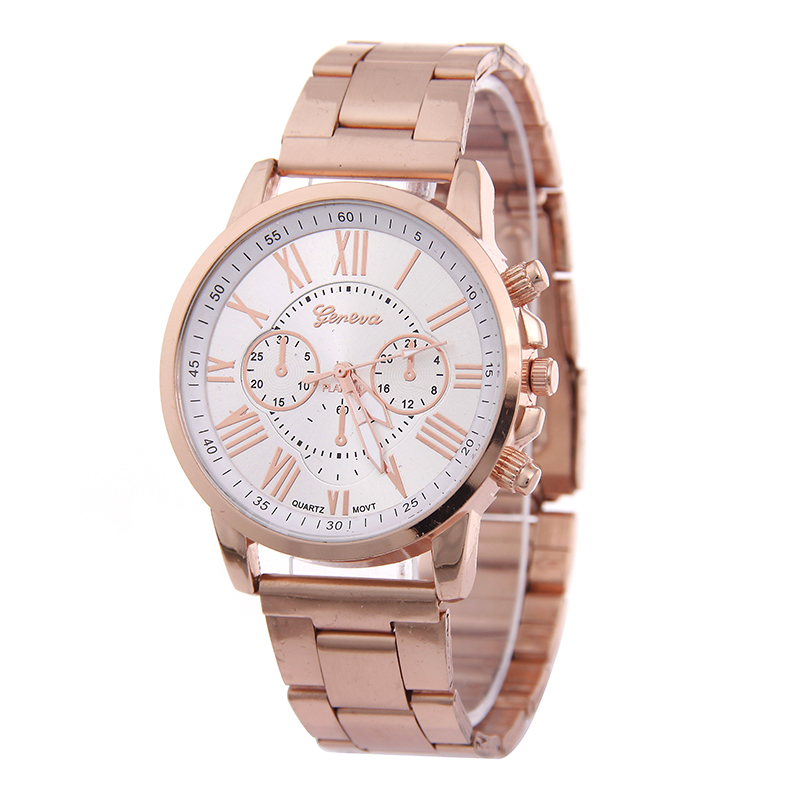 Rose Gold Stainless Steel Quartz Watches Women Clock Luxury Fashion Casual Analog Geneva Watch Ladies Montre Femme 2016(China (Mainland))