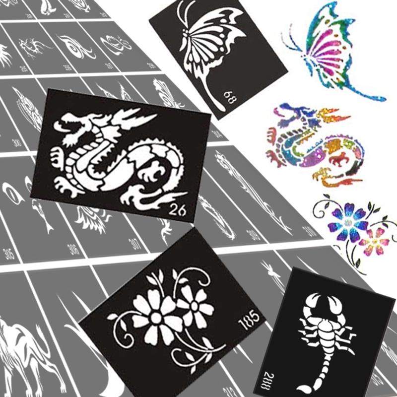 Buy 50pcs lot glitter tattoo stencil for Temporary tattoo airbrush paint