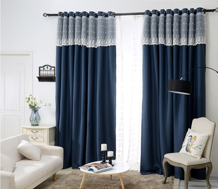 Buy Sunnyrain 1 Piece Navy Luxury Curtain For Living Room Blackout Curtain For