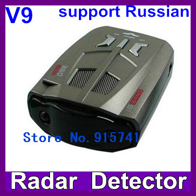 Hot sell V9 Full Bands Car Radar/Laser Detector Multi-Languages Selection Integrating with any GPS Navigator  Free Shipping