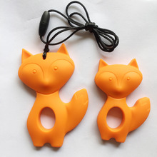 2 Pieces of Fox silicone Teething Necklace Pendants ,chew necklace pendants ,2 Pieces fox Silicone teether(China (Mainland))