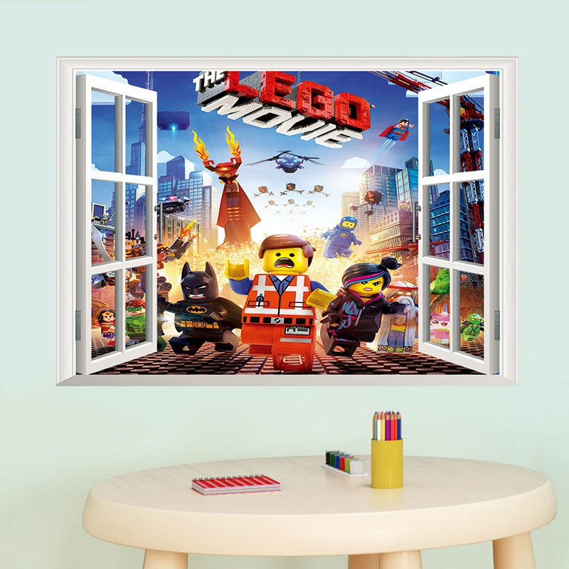 newest 3d cartoon minecraft lego wall sticker for kids