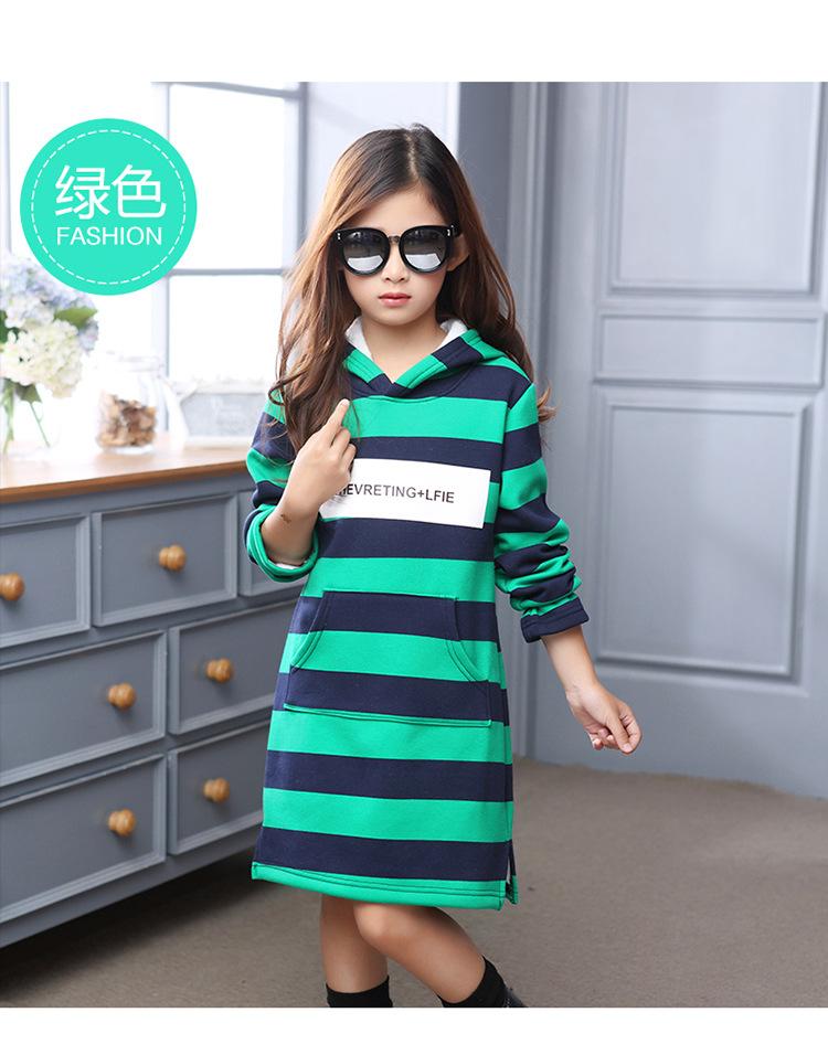 Скидки на Детская Одежда Зима Новый Девушки Корейской Моды Досуг Полосой С Капюшоном Утолщение Платья Хлопок Дети Одежда Белый Красный Зеленый